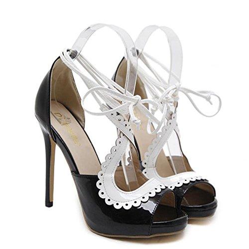 Zapatos de mujer Pu Summer Sandalias de tiras Sandalias de tacón alto Zapatos cómodos Negro GAOLIXIA Black