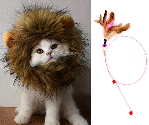Lion Mane Wig for Dog and Cat Costume Pet Adjustable Washable Comfortable Fancy Lion Hair Dog Clothes Dress for Halloween Christmas Easter Festival Party Activity (cat-Large and Feather Toys)