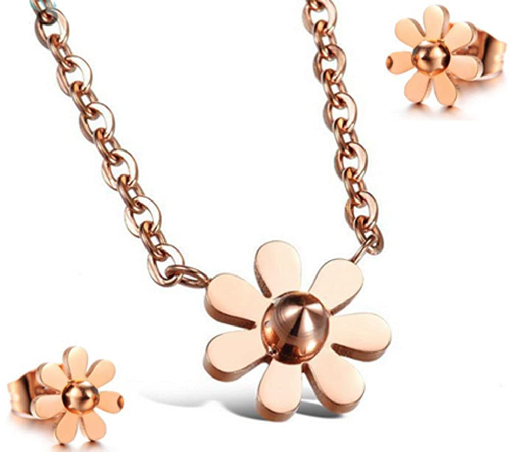 Richy-Glory Jewelry Sets Titanium Steel Rose Gold Plated Flowers Women