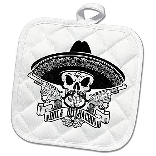 3dRose Carsten Reisinger - Illustrations - Cool Hola Bitchachos Mexican Sombrero Skull Guns Hipster - 8x8 Potholder (phl_261548_1) by 3dRose