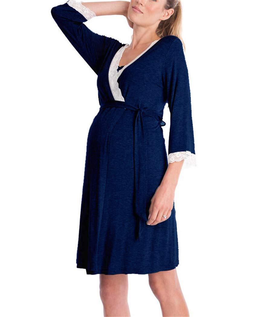 Dark bluee YOJDTD Pajamas Women's Pajamas Pregnant Women Pajamas Lace Pajamas Robe Pajamas, Navy bluee, XXL