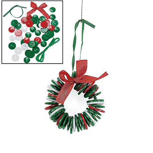 Oriental Button Wreath Ornament Craft Kit, Pack of 12 (Easy Christmas Decorations Make To)