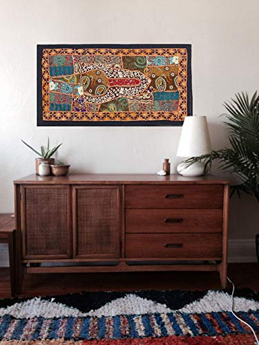 Indian handmade Wall Hanging Bohemian patchwork Tapestries, Headboard tapestries, Runner, WALL Art Embroidered Vintage Tapestry