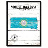 South Dakota State Vintage Flag Canvas Print Black Picture Frame Gift Ideas Home Decor Wall Art Decoration Gift Ideas