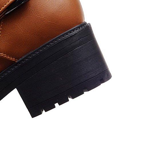 Allhqfashion Womens Pu Low-top Solido Zipper Stivali Con I Gattini Marrone