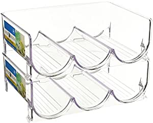 mDesign Stackable Water Bottle Storage Rack for Kitchen Countertops, Cabinet - Holds 6 Bottles, Clear