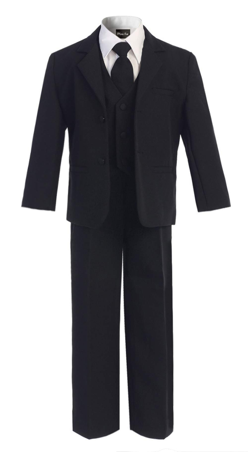 OLIVIA KOO Boys Classic Suit Set with Cloth Cover Buttons 12 Black