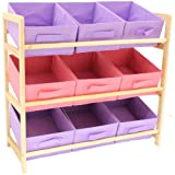 Hartleys 3 Tier Storage Unit 9 Canvas Bins - Pink & Purple