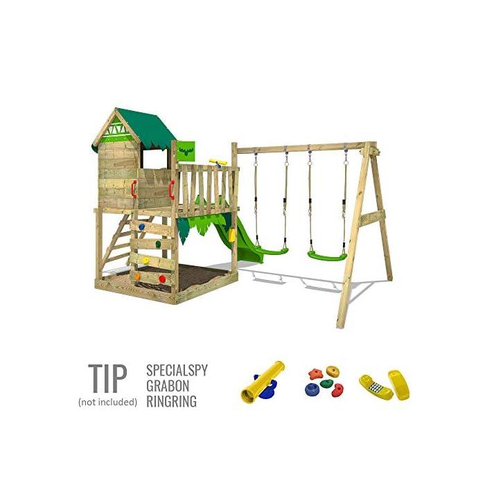 51TiLRr%2B8zL Parque infantil con casita infantil en diseño tropical - Área de juegos da exterior Madera maciza impregnada a presión - Poste de columpio 9x9 cm - Calidad y seguridad aprobada Instrucciones de montaje detalladas - Varias opciones de montaje - Made in Germany