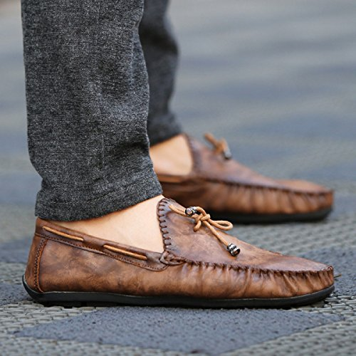 Chaussures GRRONG Respirant Et Cuir En Pour brown Souple Hommes BxxwAO