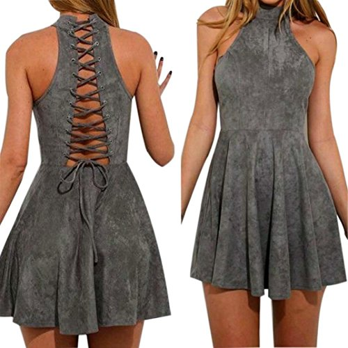 Hot Dress! AMA(TM) Women Summer Sexy Halter Sleeveless Evening Party Backless Hollow Out A-Line Dress (M, Gray) by AMA(TM)