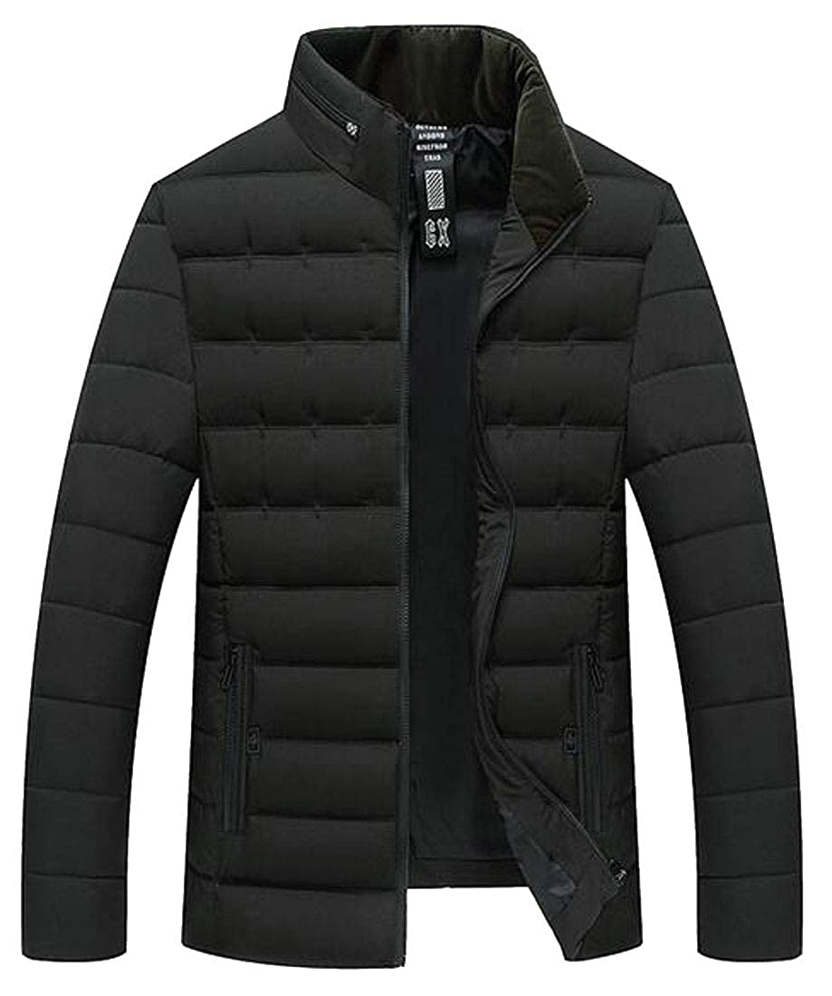 ARTFFEL Men Warm Stand Collar Solid Color Winter Down Quilted Jacket Parka Coat Outerwear