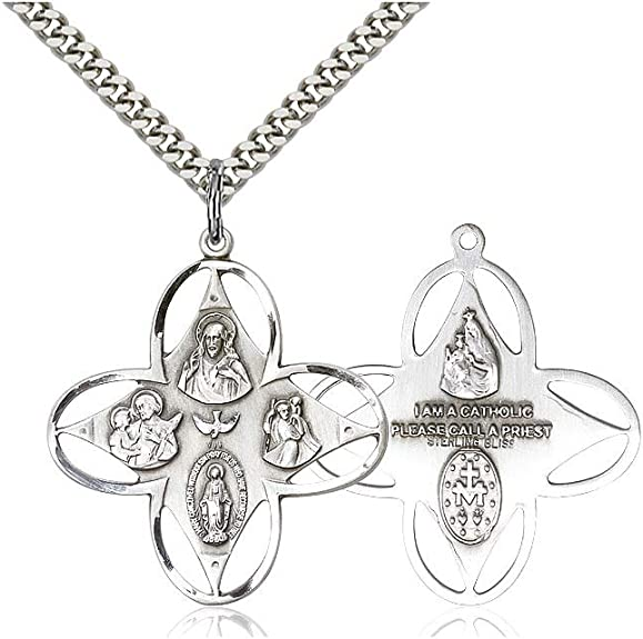 DiamondJewelryNY Sterling Silver Mother of a Priest Pendant
