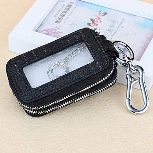 車のキー信号ブロッカーケース、男性と女性のための適切な大容量キーバッグ多機能リモコンレザーユニバーサル (Color : Black)