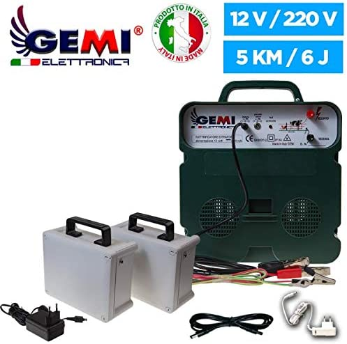 // 220V/Powered 5 km for electric fences electric fencing ELECTRIFIERS 2 rechargeable batteries B//12 EXTRASTRONG for animals wild boar dogs cows horses pigs hens Gemi Elettronica Electric Fence Energiser/Supply 12V Battery