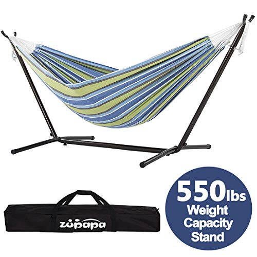 Zupapa Hammock with 550LBS Capacity Steel Stand, 2 Person Adjustable Space Saving Hammock Frame Storage Carrying Bag Included (Oasis Stripe)