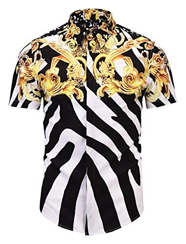 PIZOFF Mens Luxury Short Sleeve Gold Flowers Leave Black White Stripes Florlal Button Down Dress Shirt AL003-46-L ()