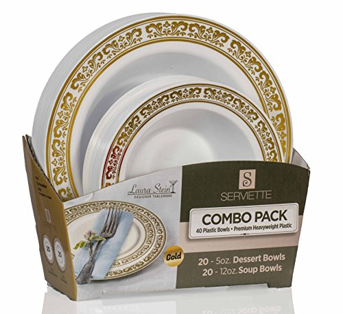(Laura Stein Party Bowls Set of 80 Elegant Disposable Dinnerware Set, Plastic Dishes, White Bowls With Gold Border Includes 40- 5oz Dessert Bowls + 40 12oz Soup Bowls for Birthdays, Weddings,Holidays,)