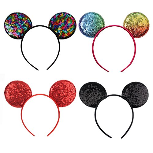 YanJie Sparkle Sequin Mouse Ear Headband - 4 Pack Glitter Lovely Mouse Headband Party Favor Decoration for Children & Adults