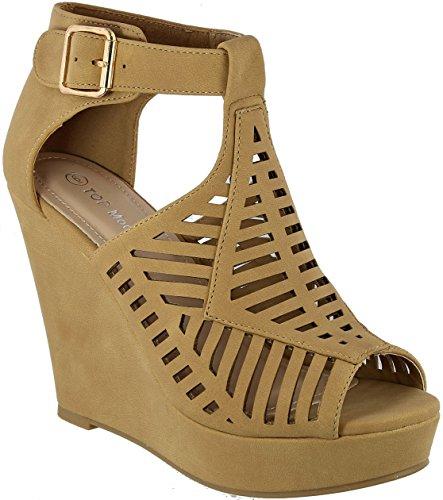 Top Moda Women's Abella-3 Wedge Sandal (6, Tan)