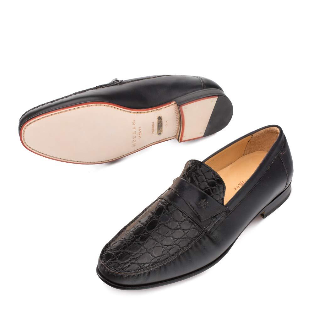 Mezlan SICA Mens Luxury Formal Loafers - Calfskin & Crocodile Slip-On Loafer with Leather Sole - Handcrafted in Spain - Medium Width (10.5, Black) by Mezlan (Image #3)