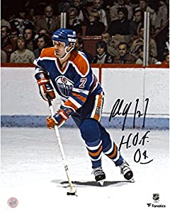 "Paul Coffey Edmonton Oilers Autographed 8"" x 10"" Blue Jersey Skating Photograph with HOF 2004 Inscription - Fanatics Authentic Certified"