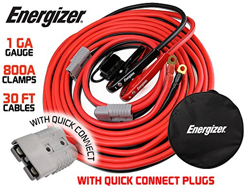 Energizer 1-Gauge 800A Permanent Installation kit Jumper Battery Cables with Quick Connect Plug 30 Ft Booster Jump Start ENB-130-30