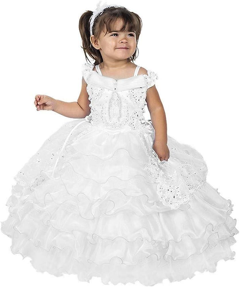 White Girls Dress Baptism Virgin Mary Guadalupe Rhinestones Organza Cape Headband