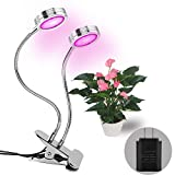 Plant Light---Dual Head LED Grow Lights,16W Plant Grow Lights Indoor with 360 Degree for Office ,Home,Indoor,Greenhouse Plants by LAMASTON.