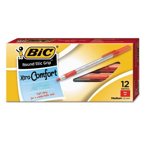 BIC America GSMG11RD Round Stic Grip Xtra Comfort Ballpoint Pen, Red Ink, Medium, (Ballpoint Pen Red Ink)
