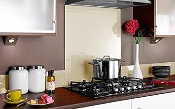 Compra PANEL DE VIDRIO para cocina en COLOR CREMA 70x55 (69, 8cm x 54, 6cm) / Cristal de Protección salpicaduras en DIFERENTES MEDIDAS para frentes de ...
