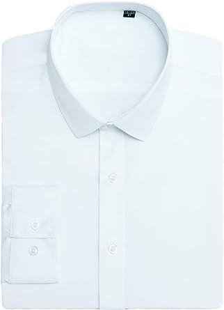 J.VER Camisas de Vestir de Hombre Popelín Ajuste Elástico Regular Manga Larga Camisa Formal No Hierr: Amazon.es: Ropa y accesorios