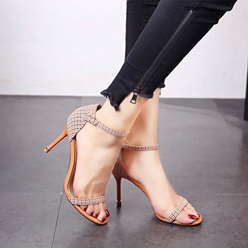 e tacchi alti qualità tralicci punta YMFIE tacchi sandali alti Alta eleganza ladies estiva b fashion ZfqvwP7xv