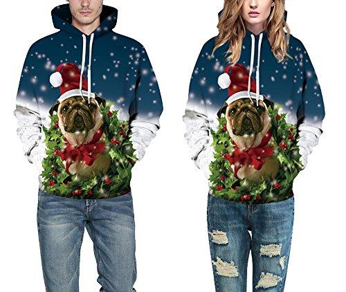 Patterned cappuccio pi¨´ di 3XL Colourful Divertente Stampato Unisex Natale 3D di Dog HD S Pullover Maniche Natale Lunghe Velluto Leezeshaw Felpa SawP64nW6