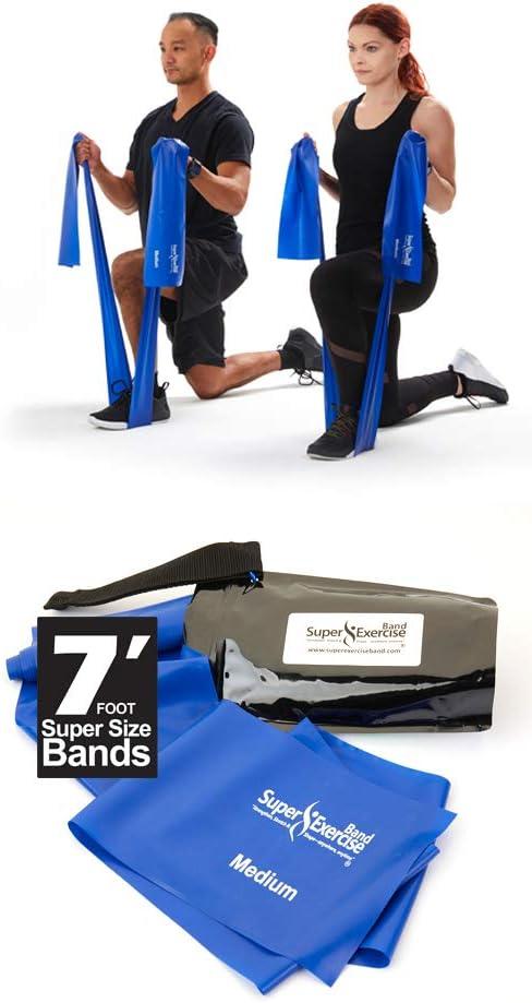 Super ejercicio banda 7pies. Largo bandas de resistencia. Soporte de látex libre gimnasio en casa Fitness equipo para fisioterapia, pilates, stretch, Yoga, Entrenamiento de Fuerza Entrenamiento. En L