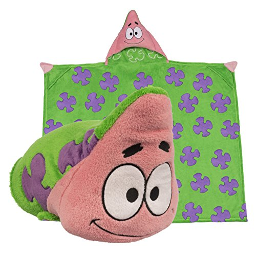 [Spongebob Squarepants Hooded Blanket - Kids Cartoon Character Blankie that Folds into a Pillow - Great for Boys and Girls - By Comfy Critters] (Cute Easy Group Costumes Ideas)
