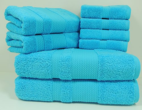PAMCOTTON Premium Quality 8 piece of Towel Set (2 Bath Towels, 2 Hand Towels and 4 Washcloths) Bosphorus Collection, Turkish Cotton, 600GSM, Luxury Hotel&Spa, Ultra Soft&Absorbent(AQUA)