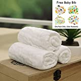 3 Pack Baby Bath Washcloths, 100% Natural Cotton