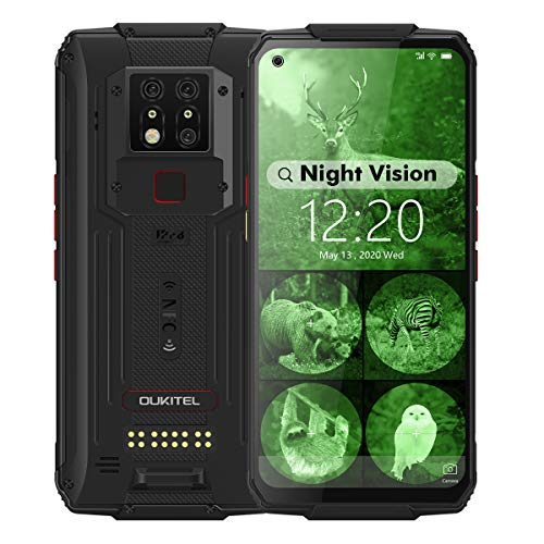 WP7 Rugged Smartphone, Night Vision Camera 8GB + 128GB Helio P90 Waterproof Unlocked Android Cell Phone 6.53 inches FHD+ Global 4G LTE Dual SIM, IP68/IP69K Triple Cameras NFC AI Cellphone (Black)