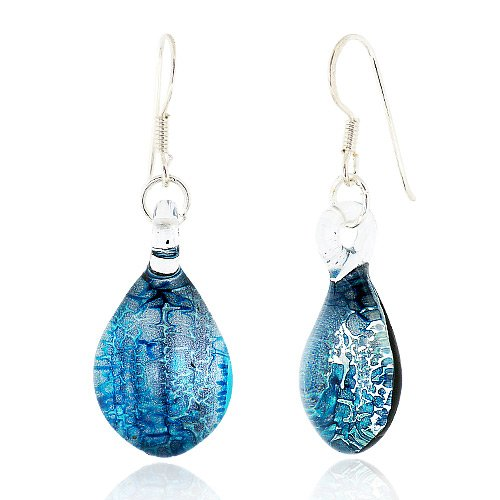 925 Sterling Silver Hand Blown Venetian Murano Glass Blue Silver Water Drop Shaped Dangle (Italian Earrings)