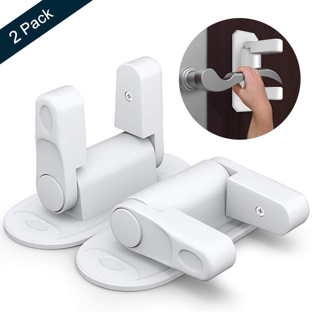 Door Lever Lock OUYUI Child Proof Door Handle Lock No Drill No Screw with 3M Adhesive Tape Baby Safety (2 Pack)
