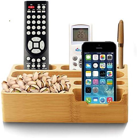 Rui Peng 携帯電話スタンド - 2019新しい固体竹木材7スロットユニバーサルデスクトップオーガナイザータブレット携帯電話ホルダーブラケットドッキングステーション用ホーム&オフィス