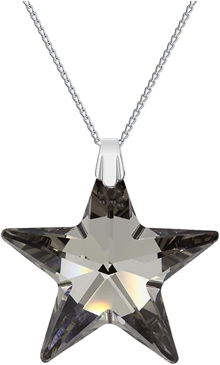 Crystals & Stones * Top Estrella de * * * 28mm Silver Night * * con cadena de plata de plata de ley 925con Swarovski® Elements Original Colgante, collar con joyas funda