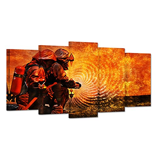 Hello Artwork - Large 5 Panel Fire Rescue Theme Canvas Wall Art Firefighter Fireman Fire Flame Fighting Painting on Canvas Contemporary Art Posters and Prints Stretched And Framed For Living Room (Fireman Picture 5 Frame 7 X)