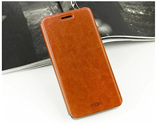 DAYJOY Elegant Side Ultra Thin Slim Flip Flio Leather Protective Bumper Case Cover Shell Shield with stand function + 1PC tempered glass screen protector film for Lenovo S90(BROWN)