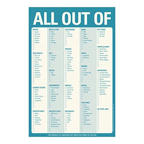 Knock Knock All Out Of Pad Grocery List Note Pad, 6 X 9
