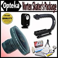 Opteka Deluxe Vortex Skaters Package (Includes the Opteka Platinum Series 0.2X HD Panoramic Vortex Fisheye Lens, X-GRIP Camcorder Handle, & 3 Watt Video Light) For Panasonic AG-EZ50, HDC-HS100, HS9, SD100, SD5, SD9, SX5, NV-GS120, GS180, GS200, GS230, PV-GS320, GS80, GS83, GS85, SDR-H79, H80, H85, H90, S100, S150, S25, S26, S50, T50, T55, VDR-D210, D210, D220, D220, D230, D230, D250, D300, D310, D310, M50 and VDR-M70 Digital Camcorders