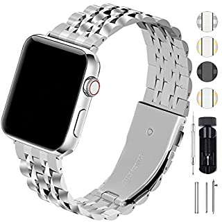 Fullmosa Watch Band Compatible for Apple Watch Series 5 4 40mm 44mm / Series 3 2 1 38mm 42mm for Women Men, Stainless Steel Band for Iwatch Replacement Strap, Matte Silver+Polished Silver
