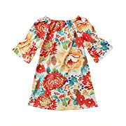 Infants Baby Girls' Long Sleeve Flower Sundress Casual Outfit Dresses (Floral, 0-6M)