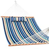 Lazy Daze Hammocks Quilted Fabric with Pillow for Two Person Double Size Spreader Bar Heavy Duty Stylish